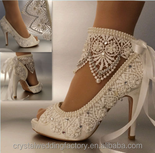 High Quality With Ribbons Lace Up Ladies Party/Dress Shoes Open Toe White/Ivory Lace Pearls Women Wedding Shoes Size EU34-41