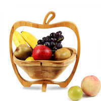 Wholesale All-Natural Bamboo Folding Collapsible Fruit Basket Apple Shaped Bamboo Folding Basket Collapsible Fruit Stores Flat