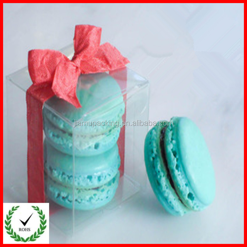 Custom design recyclable clear macaron plastic packaging container