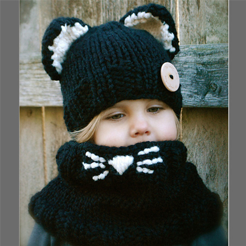 New little cat ears cute children's wool cap knitted hat scarf two-piece winter hat