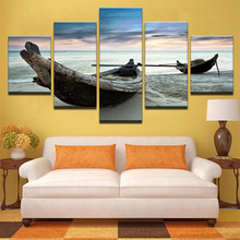 Canvas Paintings Wall Art HD Prints Pictures Home Decor 5 Pieces Beach Landscape Boat Seascape Posters For Living Room Framework
