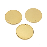 Round Stainless Steel Plated With Genuine Gold Haplopore Custom Pendant Charms For DIY Necklace Jewelry Making
