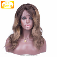 water wave two tone color brazilian human hair wigs with 4*4 silk base