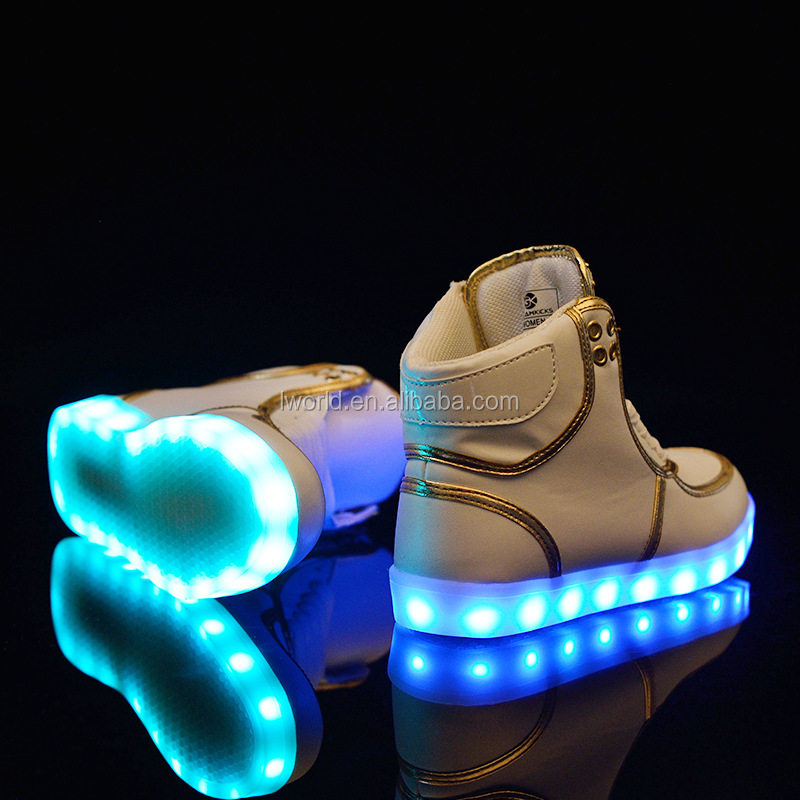 Top level high upper led shoes with 7color led lights for shoes mens color changing light up shoes