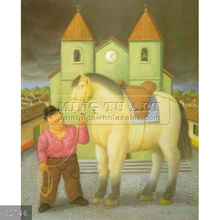 Handmade Fernando Botero fat figure oil painting, Man And Horse 1997