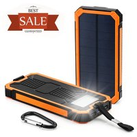 2015 Solar Power Bank 8000mAh Waterproof Powerbank Cargador Portable Solar Charger for iPhone iPod iPad Samsung Cell Phones