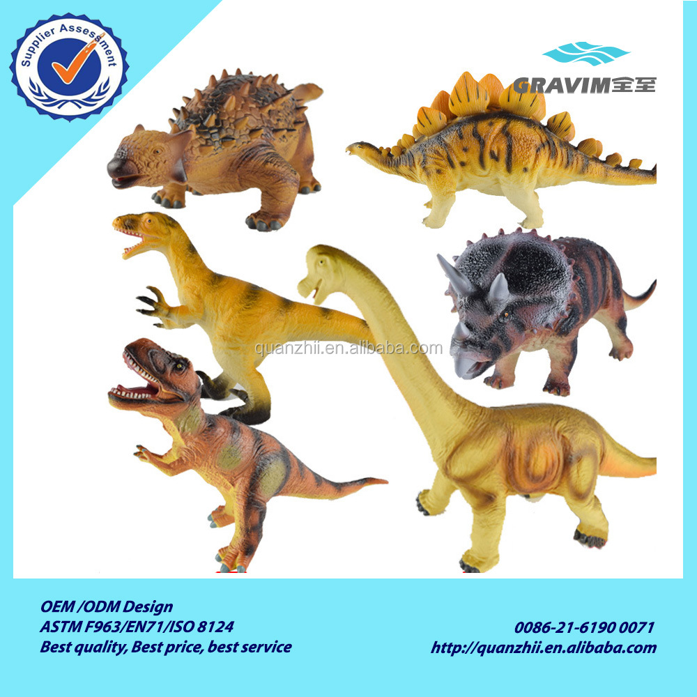 Good quality plastic cement 6 kinds of 3d big dinosaur model toy for kids