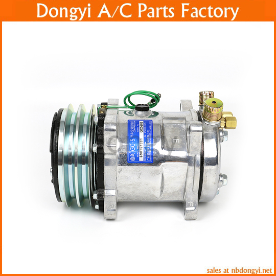 A/C AC Air Conditioning Compressor SD508 5H14 12V 2A V Belt Pulley Tractor Excavator Heavy Duty Truck Pickup Universal