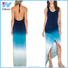 New fashion Yihao Women Posterization Back Cutout Gradient Color Dip Dyeing Top Floor Length Long Dress Strapless Maxi Dress