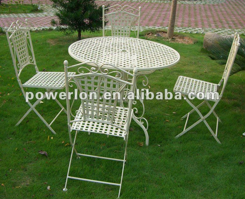 2013 new 5PC Eco-friendly chaep luxury classical white metal folded garden furniture set