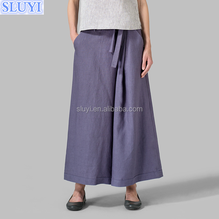 new summer ladies high waisted maxi long trousers purple color linen cotton fabric loose wide leg extra long pants with belt
