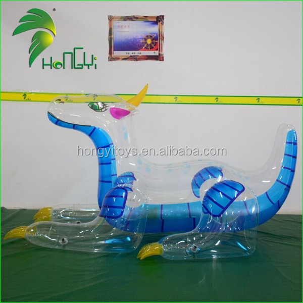 Clear PVC Inflatable Pool Toy Dragon , Transparent PVC Dragon Toy