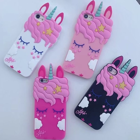 For Phone X Unicorn phone Cases Cute Cartoon horse Soft back case cover girl case