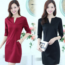D35882A 2014 autumn new design long sleeve v neck ladies office wear dress