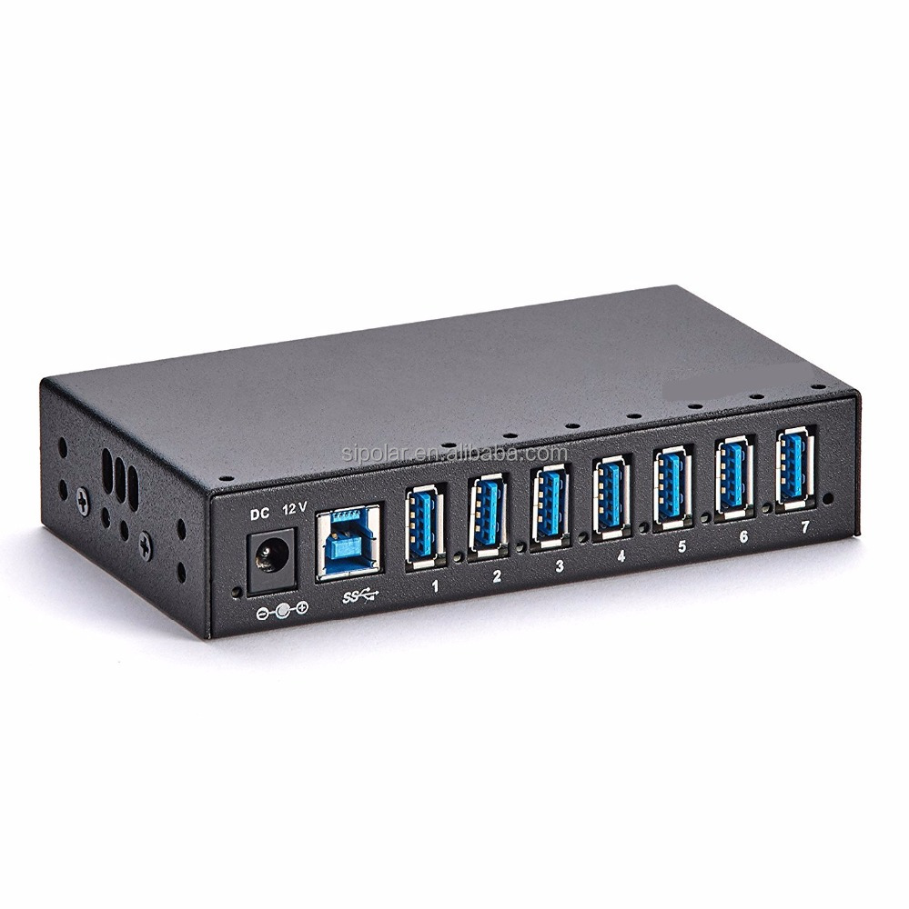 7 Port Industrial USB 3.0 Hub Metal