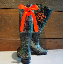 Wholsale Monogrammed Tall Black Camo Rain Boots