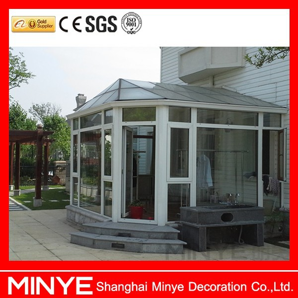 Round roof lowe glass prefab houses sunroom buy prefab for Prefab glass house prices