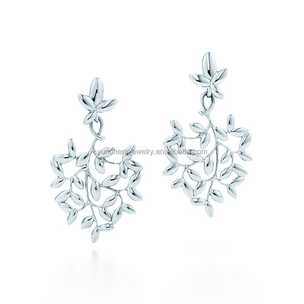 YCE6537 Hot Sale Shiny Olive Leaf Shaped 925 Sterling Silver Drop Earring