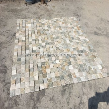 golden quartz stone mosaci wall tile