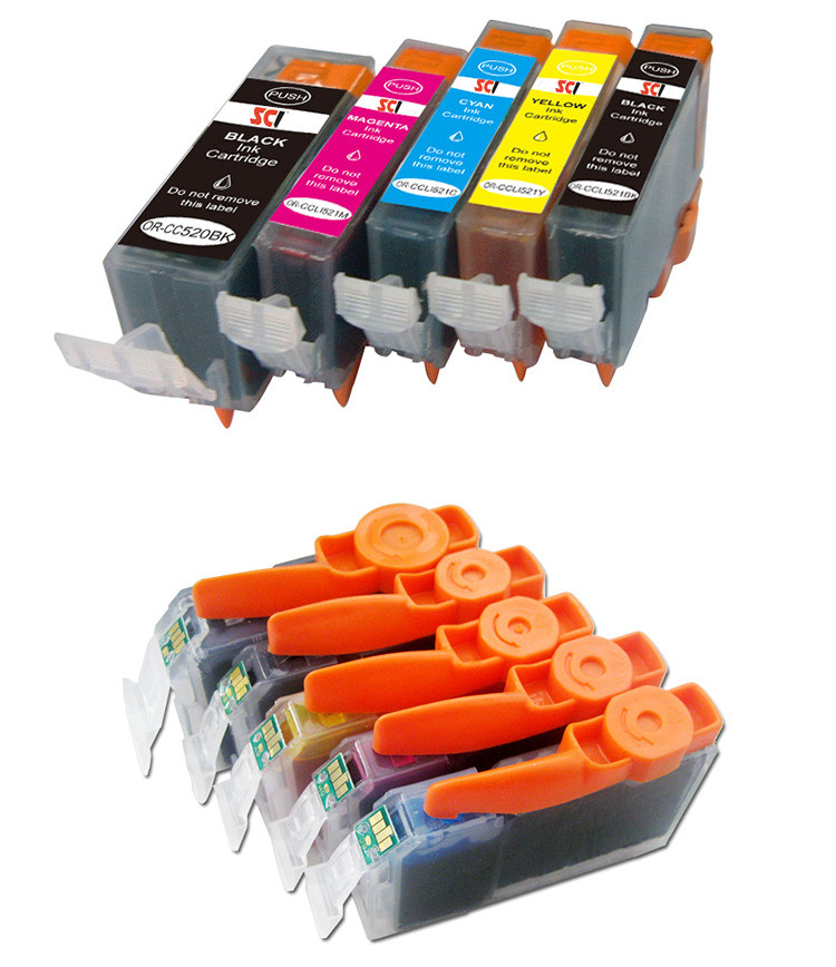 Compatible canon ink cartridge 220 221(820 821) 520 521 for PIXMA IP3600 IP4600 MP540 620 630 PIXMA MP980 with chip