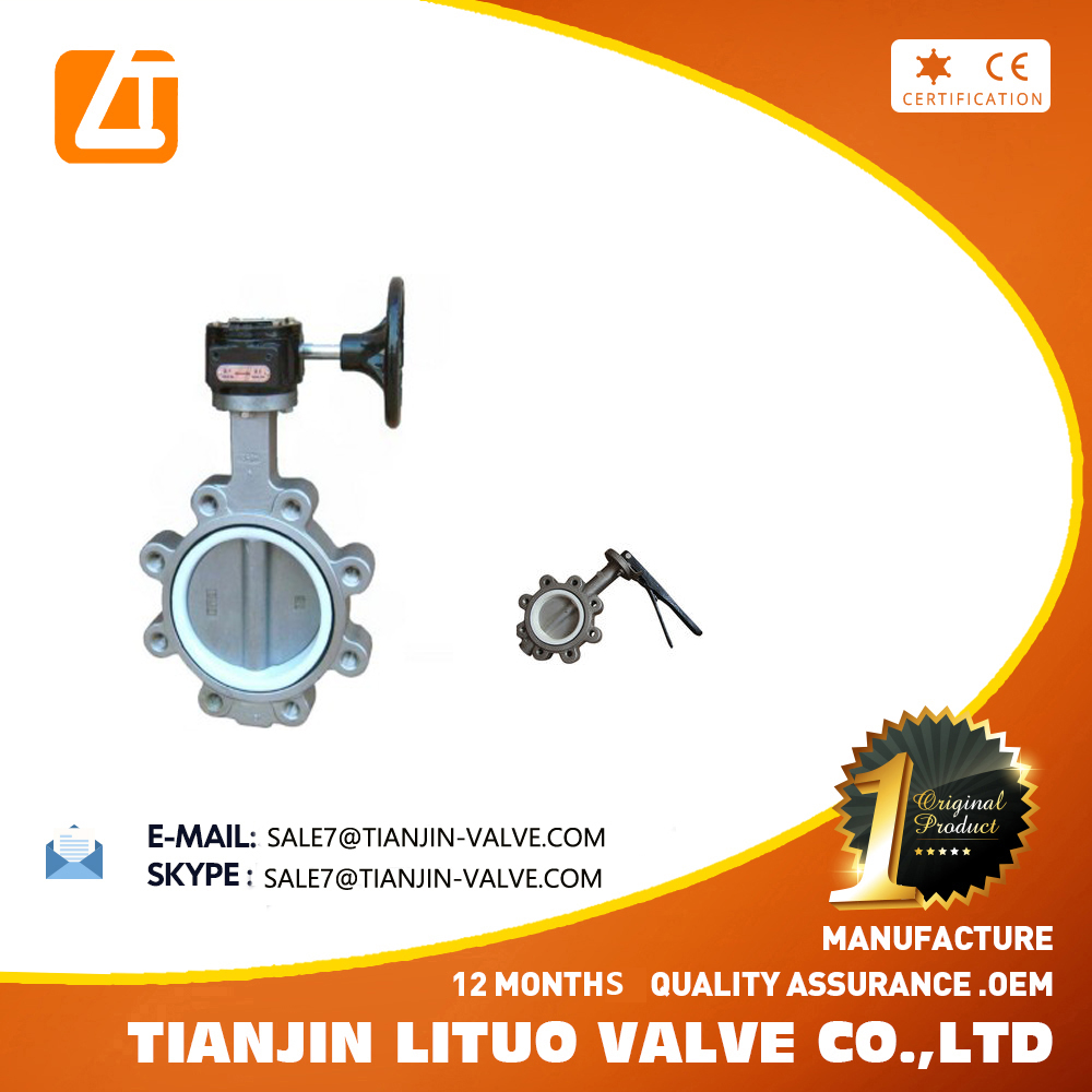 Worm Gear 304 316 Lug Wafer Type Stainless Steel PTFE Seat Butterfly Valve