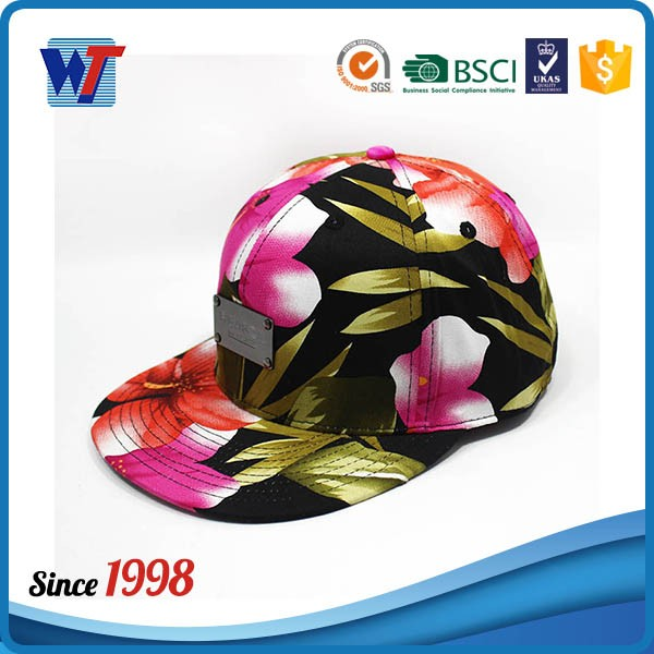 Fashion Vintage Large Flower Snapback Hats with Metal logo