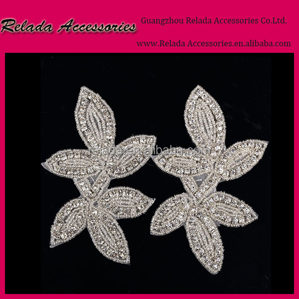 Wholesale Factory direct handmade sequin flower embroidery crystal flower patches for headband