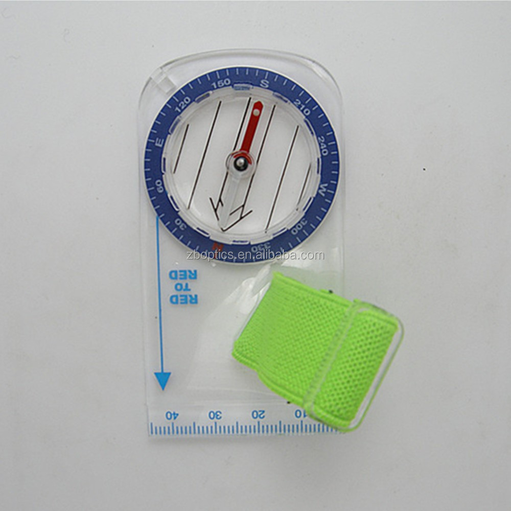 Transparent map measure orienteering compass with scale