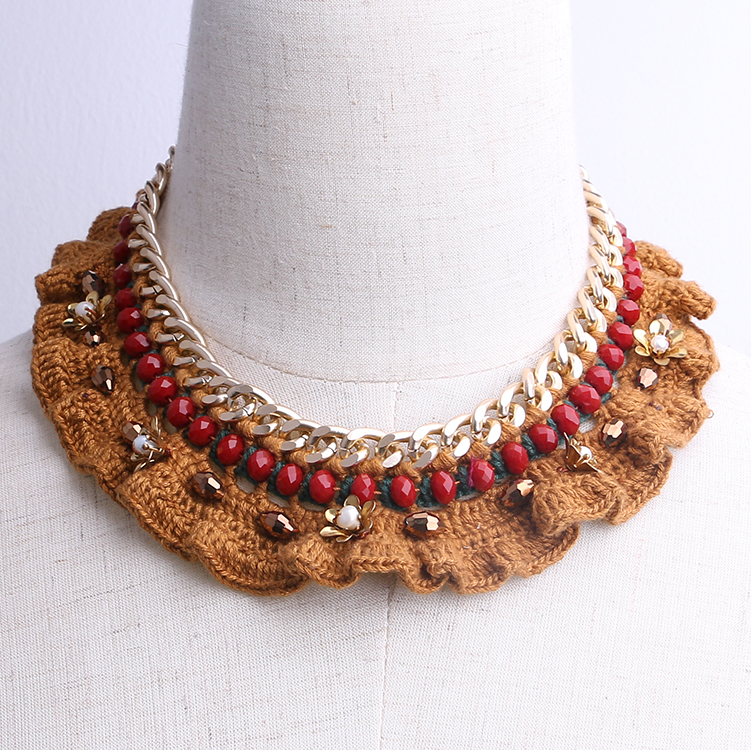 custom jewelry fancy handmade crochet choker collar necklace statement necklace accessories for women