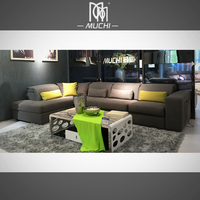 Dry Acrylic Fabric 1 + 3 + Left Chaise Electric Corner Reclining Sofa With Headrest