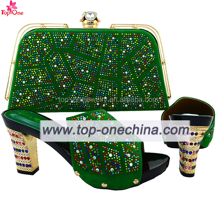 Italian Shoes and Bags Set to Match Ladies Crystal Diamond Italian Matching Shoes and Bags for African Women