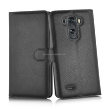 Premium lychee grain leather wallet flip card holders cover folding stand case for LG g3