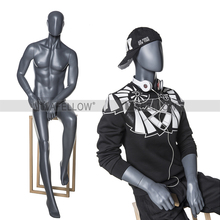 Sitting Fashion Style Fiberglass Material and Men Gender Full Body mannequin MLM-2