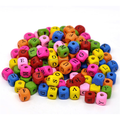 "Hotsales Mixed Multicolor Alphabet /Letter ""A-Z"" Cube Wood Beads 10x9mm"