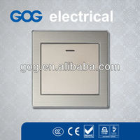 brushed stainless steel plates reset switch with led indicator light one gang two way plate switch