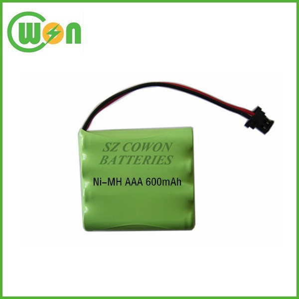 4.8v 600mah ni-mh aaa battery pack for cordless phone replacement battery made in China