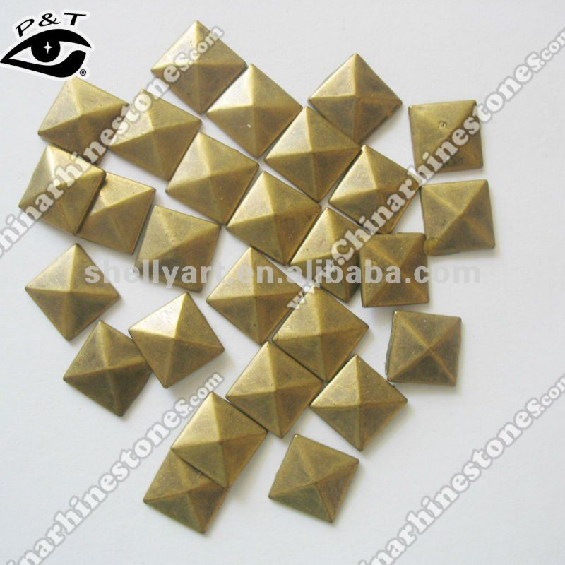 5x5mm pyramid Square Hot fix antique metal stud copper dome
