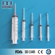 Manufacturer medical three parts sterilized disposable syringe with hypodermic needle