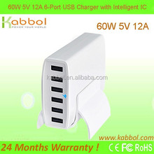 2015 high quality 60W 6-Port Desktop USB Charger for iPhone 5, iPad, Samsung Galaxy, Touch Screen Tablet, Cell Phone, MP3 Player