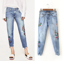 X87857A latest fashion denim jeans embroidery flower loose ladies jeans top design pants