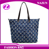 Fashion Women Shopping Cotton Canvas Bag Tote Leather Handbag