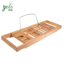 Adjustable Bamboo Extendable Bath Caddy with Wine Holder, Book Rest, and Phone Holder
