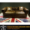 Classic button back simple wooden sofa set design/Vintage American leather sofa