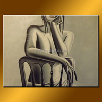 Wholesale handmade modern realistic nude girl on the chair art, sexy nude painting