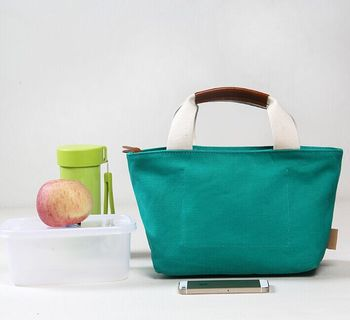 Vintage PU Handle Whole Foods Lunch Bag Daily Bag