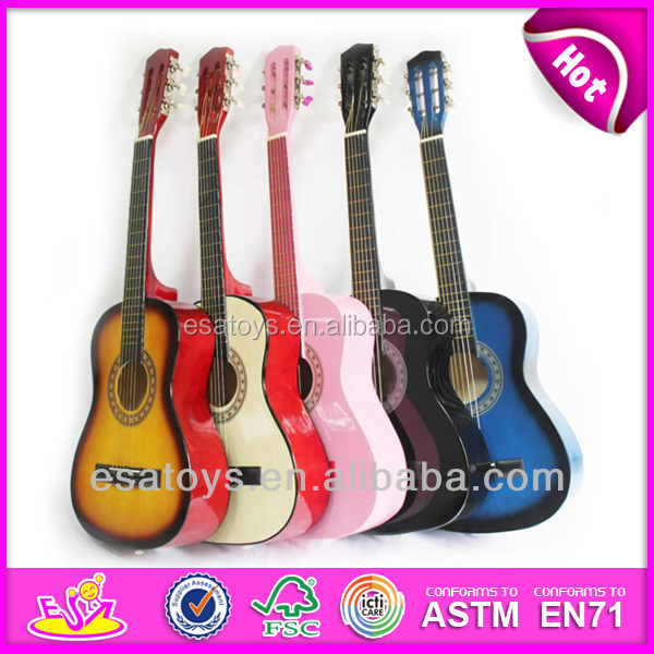 2015 New wooden kid cheap guitars toy,popular wooden 34 inch children cheap guitar and hot sale wooden baby cheap guitar W07H029