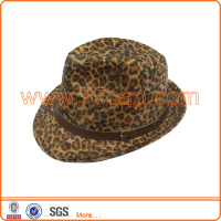 Fashion sex girl hat leopard printed fedor hat