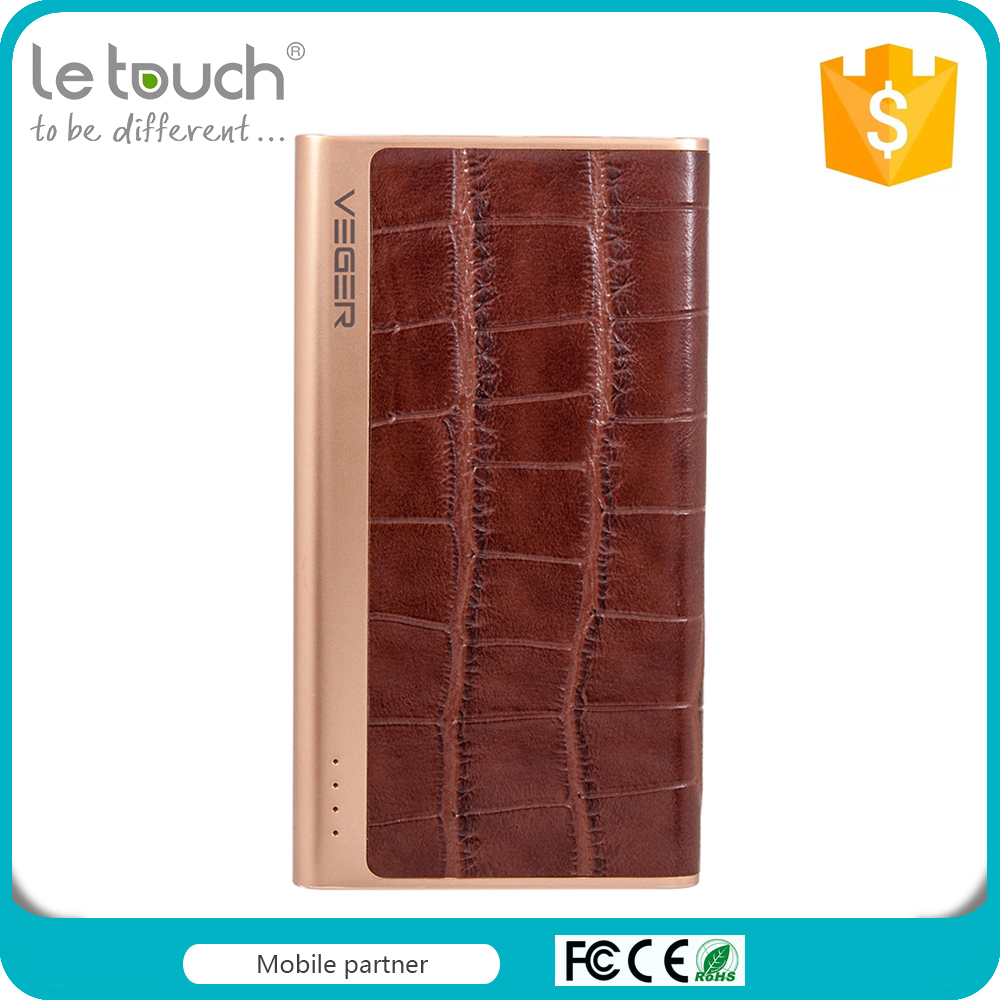Assessed Supplier pu leather portable mobile power bank 5000mah