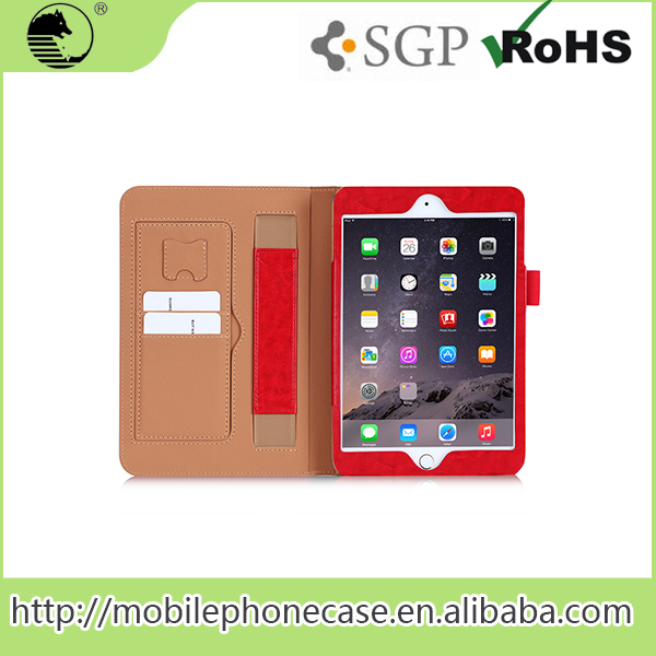 Excellent Quality RED PU Tablet Covers&Cases For ipad Mini 4 Tablet Case