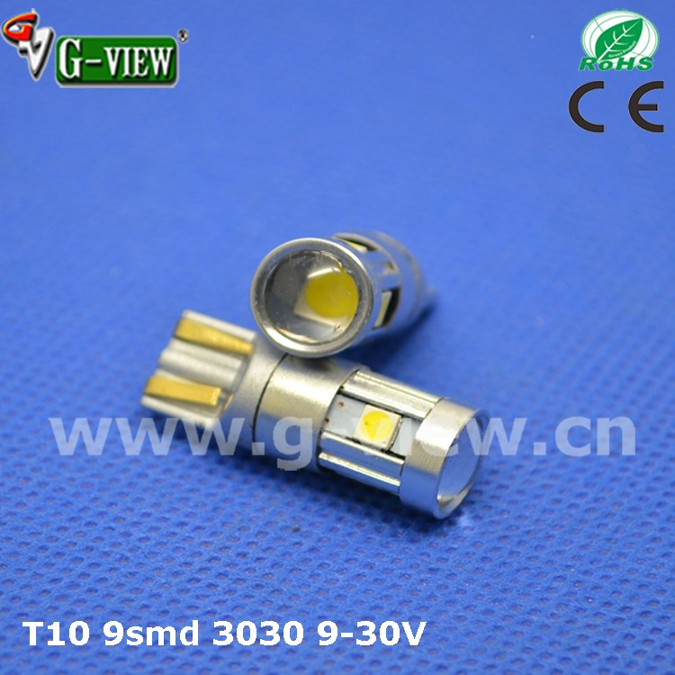 New design car led T10 3030 led 9smd 10-30V non polarity W5w 501 led auto light
